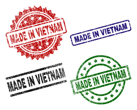 MADE IN VIETNAM seal prints with corroded texture. Black, green,red,blue vector rubber prints of MADE IN VIETNAM text with dirty texture. Rubber seals with circle, rectangle, medal shapes.