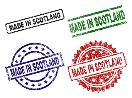 MADE IN SCOTLAND seal prints with damaged texture. Black, green,red,blue vector rubber prints of MADE IN SCOTLAND title with dirty texture. Rubber seals with round, rectangle, medallion shapes.