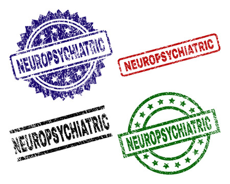 NEUROPSYCHIATRIC seal prints with corroded texture. Black, green,red,blue vector rubber prints of NEUROPSYCHIATRIC caption with scratched texture. Rubber seals with round, rectangle, medal shapes.