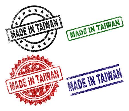 MADE IN TAIWAN stampe sigillo con stile corroso. Stampe in gomma vettoriali nere, verdi, rosse, blu dell'etichetta MADE IN TAIWAN con stile retrò. Guarnizioni in gomma a forma di cerchio, rettangolo, rosetta. Vettoriali