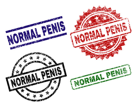 NORMAL PENIS seal prints with corroded surface. Black, green,red,blue vector rubber prints of NORMAL PENIS text with corroded surface. Rubber seals with circle, rectangle, medallion shapes.