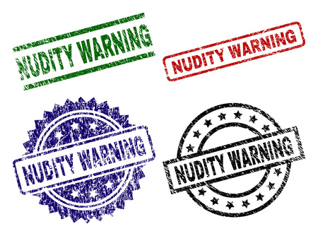 NUDITY WARNING seal prints with distress surface. Black, green,red,blue vector rubber prints of NUDITY WARNING label with scratched style. Rubber seals with circle, rectangle, medal shapes.