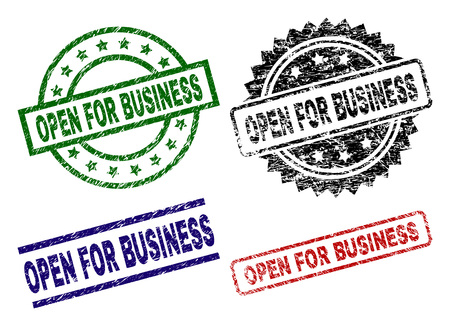 OPEN FOR BUSINESS seal prints with damaged texture. Black, green,red,blue vector rubber prints of OPEN FOR BUSINESS label with unclean texture. Rubber seals with round, rectangle, rosette shapes. Illustration