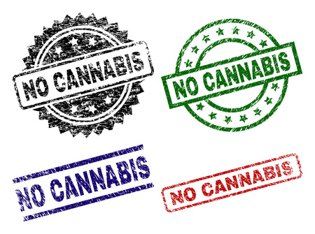 NO CANNABIS seal prints with corroded surface. Black, green,red,blue vector rubber prints of NO CANNABIS title with corroded surface. Rubber seals with round, rectangle, medal shapes.