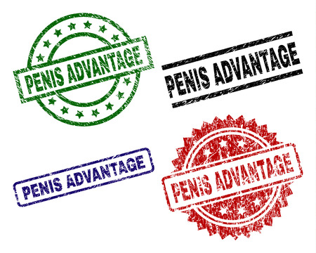PENIS ADVANTAGE seal prints with corroded texture. Black, green,red,blue vector rubber prints of PENIS ADVANTAGE tag with dust style. Rubber seals with round, rectangle, rosette shapes. Stock Vector - 106267446