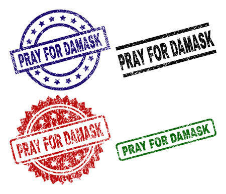 PRAY FOR DAMASK seal prints with damaged surface. Black, green,red,blue vector rubber prints of PRAY FOR DAMASK caption with scratched surface. Rubber seals with round, rectangle, rosette shapes.