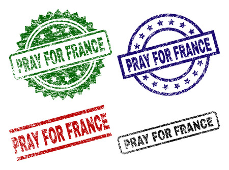 PRAY FOR FRANCE seal prints with damaged texture. Black, green,red,blue vector rubber prints of PRAY FOR FRANCE label with unclean texture. Rubber seals with circle, rectangle, rosette shapes.