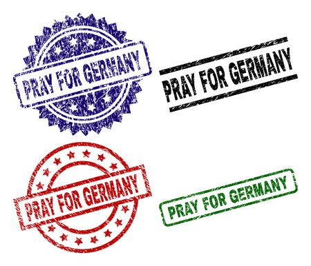 PRAY FOR GERMANY seal prints with damaged surface. Black, green,red,blue vector rubber prints of PRAY FOR GERMANY tag with dirty surface. Rubber seals with round, rectangle, medallion shapes.