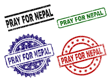 PRAY FOR NEPAL seal prints with distress surface. Black, green,red,blue vector rubber prints of PRAY FOR NEPAL label with scratched surface. Rubber seals with round, rectangle, medal shapes.