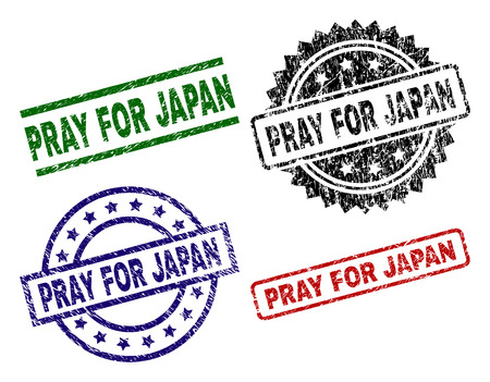 PRAY FOR JAPAN seal prints with corroded texture. Black, green,red,blue vector rubber prints of PRAY FOR JAPAN text with scratched texture. Rubber seals with circle, rectangle, medallion shapes.