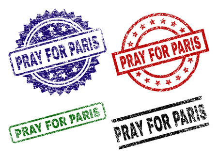 PRAY FOR PARIS seal prints with corroded texture. Black, green,red,blue vector rubber prints of PRAY FOR PARIS caption with corroded texture. Rubber seals with round, rectangle, medallion shapes. Illustration