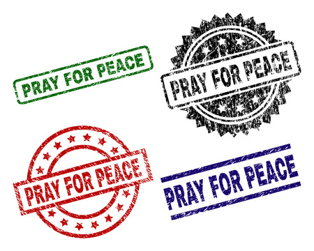 PRAY FOR PEACE seal stamps with corroded texture. Black, green,red,blue vector rubber prints of PRAY FOR PEACE title with corroded texture. Rubber seals with round, rectangle, medal shapes. Illustration