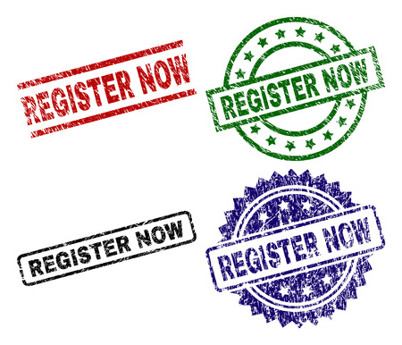 REGISTER NOW seal prints with corroded style. Black, green,red,blue vector rubber prints of REGISTER NOW caption with scratched style. Rubber seals with circle, rectangle, medal shapes. Illustration
