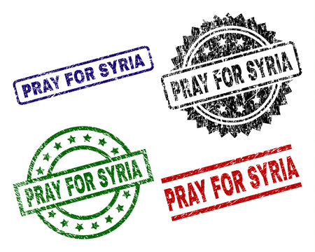 PRAY FOR SYRIA seal prints with corroded texture. Black, green,red,blue vector rubber prints of PRAY FOR SYRIA text with dirty texture. Rubber seals with round, rectangle, medal shapes.