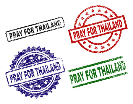 PRAY FOR THAILAND seal prints with damaged texture. Black, green,red,blue vector rubber prints of PRAY FOR THAILAND text with retro texture. Rubber seals with round, rectangle, medallion shapes. Illustration