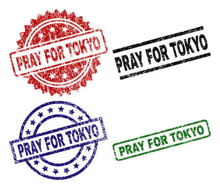 PRAY FOR TOKYO seal prints with damaged texture. Black, green,red,blue vector rubber prints of PRAY FOR TOKYO text with corroded texture. Rubber seals with circle, rectangle, rosette shapes.