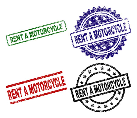 RENT A MOTORCYCLE seal stamps with damaged style. Black, green,red,blue vector rubber prints of RENT A MOTORCYCLE text with retro style. Rubber seals with circle, rectangle, rosette shapes.