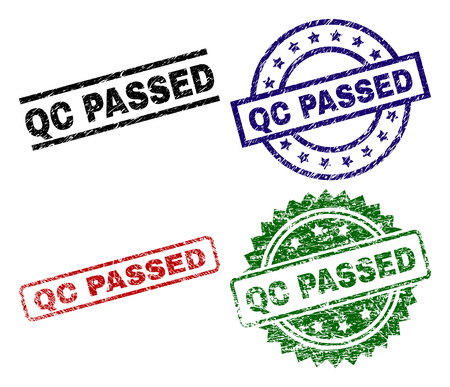 QC PASSED seal prints with damaged style. Black, green,red,blue vector rubber prints of QC PASSED label with dirty style. Rubber seals with circle, rectangle, rosette shapes.