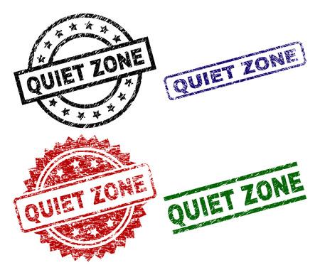 Impresiones de sellos QUIET ZONE con estilo dañado. Impresiones de goma de vector negro, verde, rojo, azul del texto de ZONA SILENCIOSA con estilo corroído. Sellos de goma con forma de círculo, rectángulo, roseta. Ilustración de vector