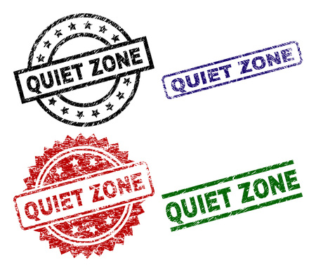 Le sceau QUIET ZONE imprime avec un style endommagé. Impressions en caoutchouc vectorielles noires, vertes, rouges et bleues du texte QUIET ZONE avec un style corrodé. Joints en caoutchouc avec des formes de cercle, rectangle, rosace. Vecteurs