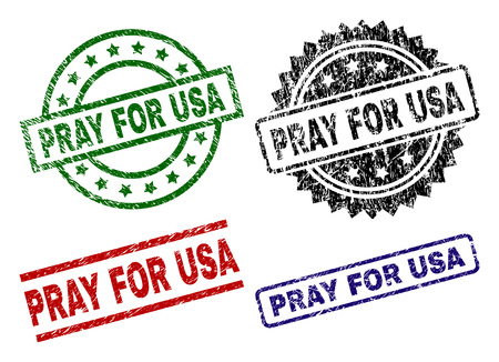 PRAY FOR USA seal prints with corroded texture. Black, green,red,blue vector rubber prints of PRAY FOR USA text with corroded surface. Rubber seals with circle, rectangle, medal shapes. Illustration