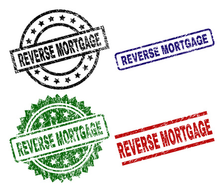 REVERSE MORTGAGE seal prints with distress style. Black, green,red,blue vector rubber prints of REVERSE MORTGAGE text with dust style. Rubber seals with round, rectangle, rosette shapes.