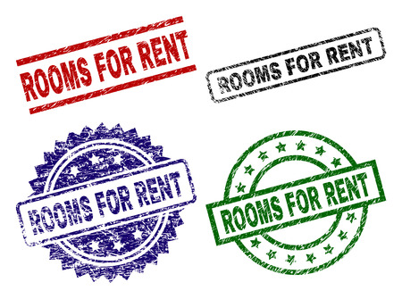 ROOMS FOR RENT seal prints with corroded style. Black, green,red,blue vector rubber prints of ROOMS FOR RENT title with scratched style. Rubber seals with circle, rectangle, rosette shapes. 向量圖像