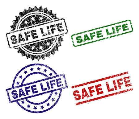 SAFE LIFE seal imprints with corroded style. Black, green,red,blue vector rubber prints of SAFE LIFE caption with corroded style. Rubber seals with circle, rectangle, rosette shapes.