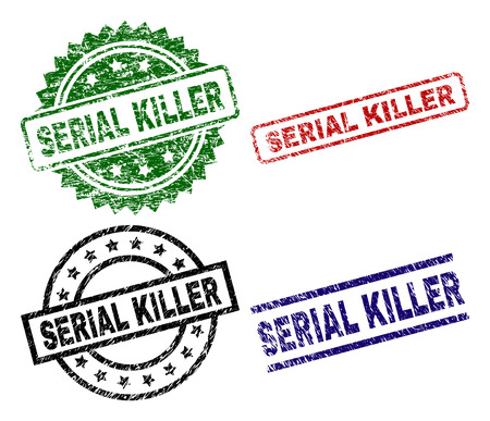 SERIAL KILLER seal prints with corroded texture. Black, green,red,blue vector rubber prints of SERIAL KILLER label with corroded texture. Rubber seals with round, rectangle, medallion shapes.
