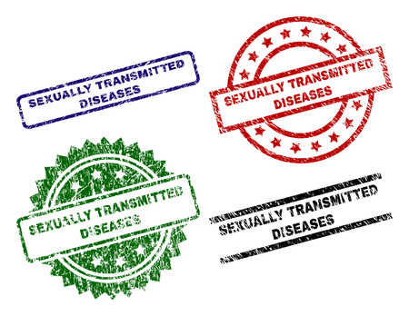 SEXUALLY TRANSMITTED DISEASES seal prints with corroded surface. Black, green,red,blue vector rubber prints of SEXUALLY TRANSMITTED DISEASES tag with dirty surface. Rubber seals with round, rectangle,