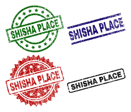 SHISHA PLACE seal prints with damaged surface. Black, green,red,blue vector rubber prints of SHISHA PLACE caption with unclean style. Rubber seals with round, rectangle, medal shapes.
