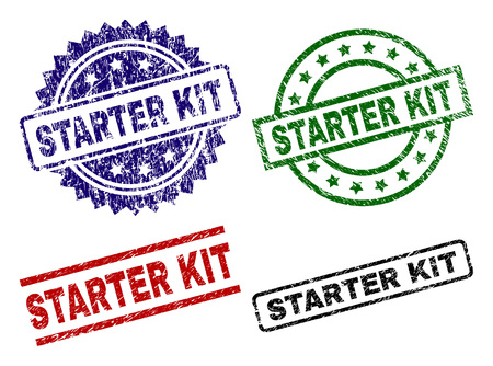 STARTER KIT seal prints with distress surface. Black, green,red,blue vector rubber prints of STARTER KIT caption with retro surface. Rubber seals with round, rectangle, medal shapes.