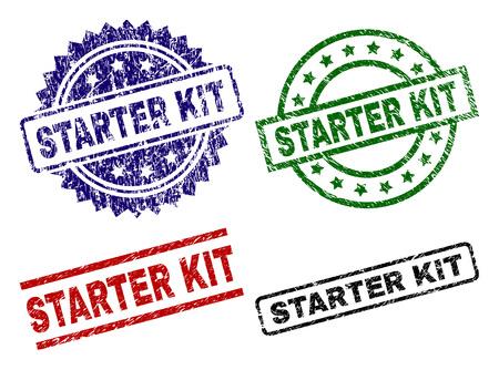 STARTER KIT Siegeldrucke mit Distressed-Oberfläche. Schwarze, grüne, rote, blaue Vektorgummidrucke der STARTER KIT-Beschriftung mit Retro-Oberfläche. Gummidichtungen mit runden, rechteckigen, Medaillenformen.
