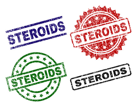 STEROIDS seal prints with corroded surface. Black, green,red,blue vector rubber prints of STEROIDS title with grunge surface. Rubber seals with circle, rectangle, rosette shapes. Illustration