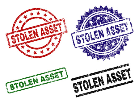 STOLEN ASSET seal prints with corroded texture. Black, green,red,blue vector rubber prints of STOLEN ASSET caption with corroded style. Rubber seals with circle, rectangle, medal shapes.  イラスト・ベクター素材