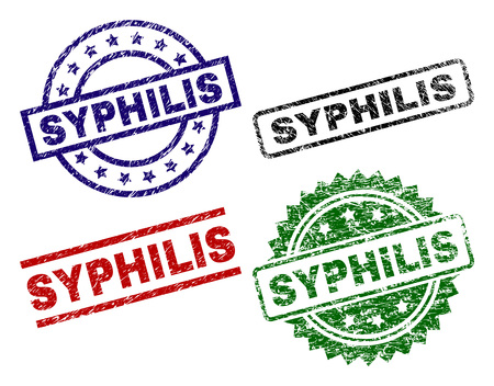 SYPHILIS seal prints with damaged surface. Black, green,red,blue vector rubber prints of SYPHILIS title with grunge surface. Rubber seals with round, rectangle, rosette shapes.