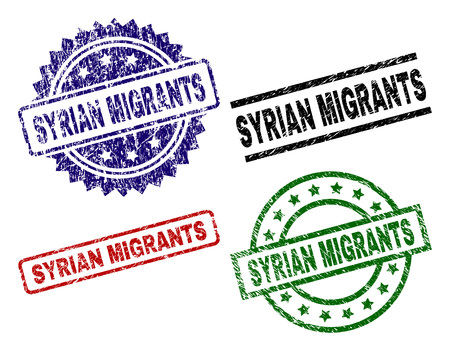 SYRIAN MIGRANTS seal prints with corroded surface. Black, green,red,blue vector rubber prints of SYRIAN MIGRANTS text with unclean surface. Rubber seals with round, rectangle, rosette shapes. 向量圖像