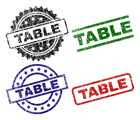 TABLE seal stamps with corroded texture. Black, green,red,blue vector rubber prints of TABLE title with retro texture. Rubber seals with circle, rectangle, rosette shapes.  イラスト・ベクター素材