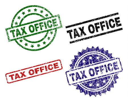TAX OFFICE seal imprints with corroded texture. Black, green,red,blue vector rubber prints of TAX OFFICE caption with dirty texture. Rubber seals with circle, rectangle, rosette shapes. Illustration
