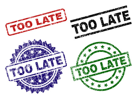 TOO LATE seal prints with distress surface. Black, green,red,blue vector rubber prints of TOO LATE text with unclean surface. Rubber seals with circle, rectangle, medal shapes. Stockfoto - 112052604