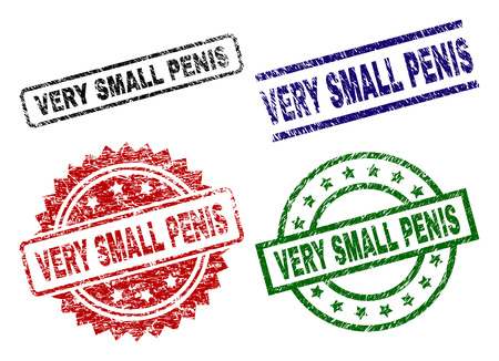 VERY SMALL PENIS seal prints with damaged style. Black, green,red,blue  rubber prints of VERY SMALL PENIS caption with unclean style. Rubber seals with round, rectangle, medal shapes.