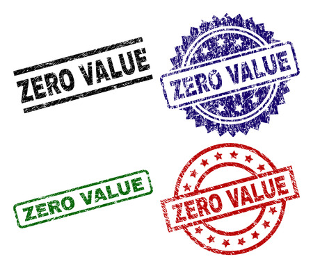 ZERO VALUE seal prints with corroded texture. Black, green,red,blue vector rubber prints of ZERO VALUE tag with corroded style. Rubber seals with circle, rectangle, medallion shapes.