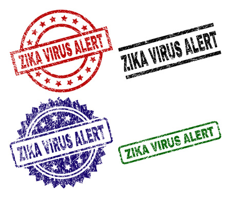 Impresiones del sello ZIKA VIRUS ALERT con textura de angustia. Impresiones de goma de vector negro, verde, rojo, azul de la etiqueta ZIKA VIRUS ALERT con textura sucia. Sellos de goma con formas redondas, rectangulares, en roseta.