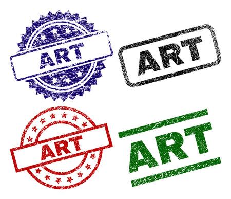 ART seal stamps with damaged texture. Black, green,red,blue vector rubber prints of ART title with retro texture. Rubber seals with round, rectangle, medallion shapes. Illusztráció