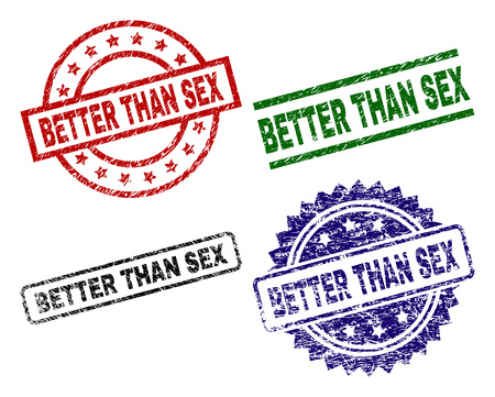 BETTER THAN SEX seal prints with distress surface. Black, green,red,blue vector rubber prints of BETTER THAN SEX title with retro surface. Rubber seals with round, rectangle, rosette shapes.