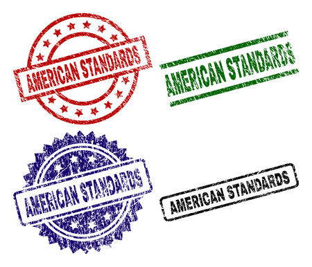 AMERICAN STANDARDS seal prints with distress style. Black, green,red,blue vector rubber prints of AMERICAN STANDARDS tag with dust style. Rubber seals with circle, rectangle, medallion shapes.