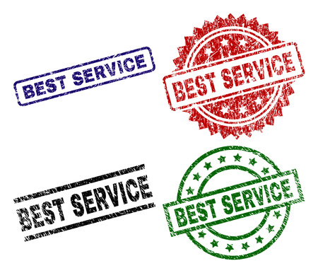 BEST SERVICE seal prints with distress style. Black, green,red,blue vector rubber prints of BEST SERVICE title with dirty surface. Rubber seals with round, rectangle, medallion shapes. Reklamní fotografie - 112037496