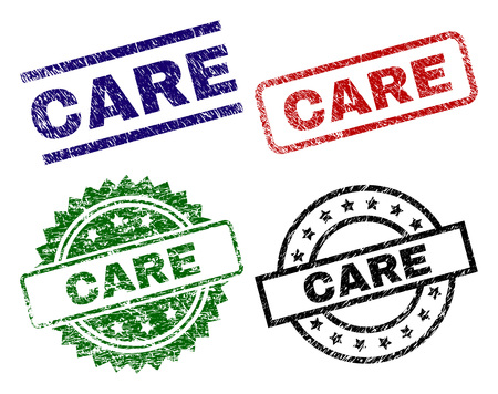 CARE seal stamps with corroded surface. Black, green,red,blue vector rubber prints of CARE title with corroded surface. Rubber seals with circle, rectangle, rosette shapes.