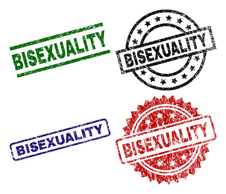 BISEXUALITY seal prints with corroded style. Black, green,red,blue vector rubber prints of BISEXUALITY label with dirty style. Rubber seals with circle, rectangle, medal shapes.