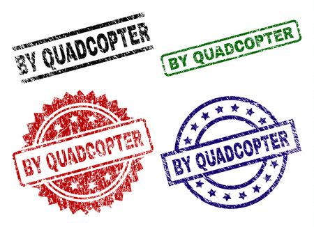 BY QUADCOPTER seal prints with damaged texture. Black, green,red,blue vector rubber prints of BY QUADCOPTER label with unclean texture. Rubber seals with round, rectangle, rosette shapes.  イラスト・ベクター素材